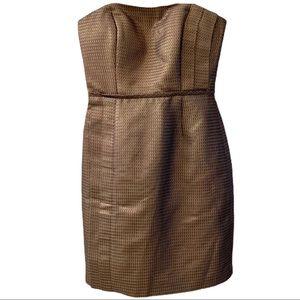 🖤Max & Cleo Strapless Gold Metallic Dress …